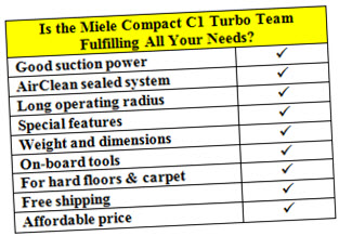 choose Miele compact C1 turbo team